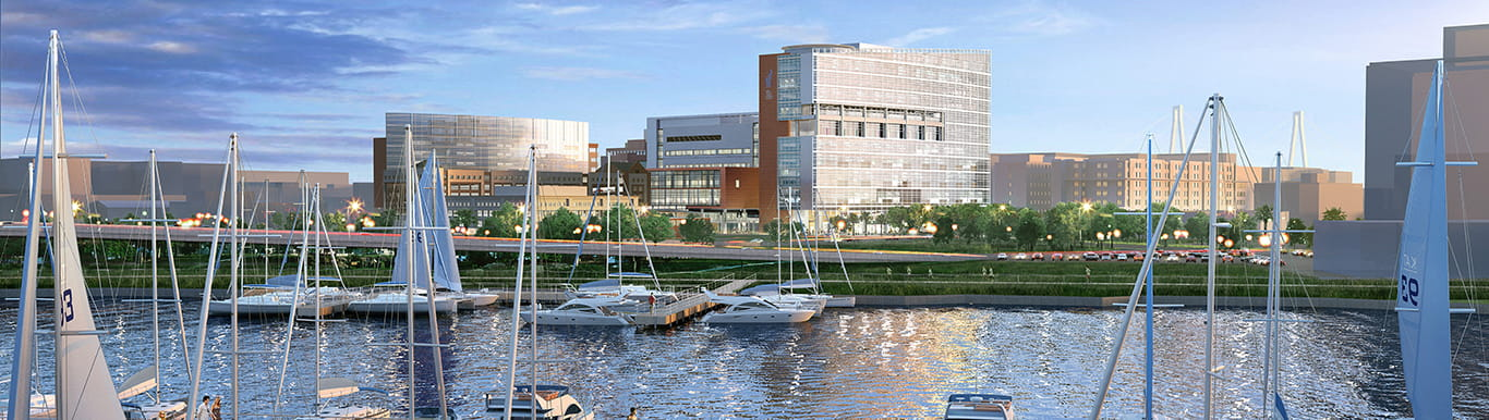 Artists rendering of the view of the Shawn Jenkins Children's Hospital from the Ashley River