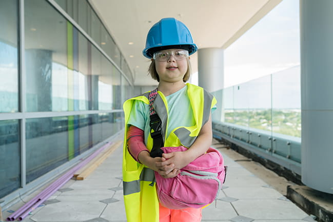 Children's hospital patient tours the almost finished hospital