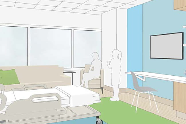 Rendering of a 10th floor pediatric cancer patient room