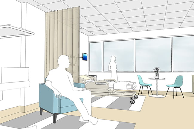 Rendering of NICU couplet care room
