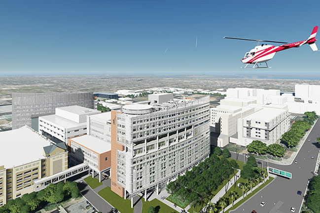 Rendering of the rooftop helipad