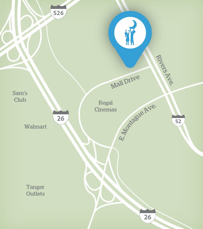 Map showing location of MUSC Children's Health R. Keith Summey Medical Pavilion