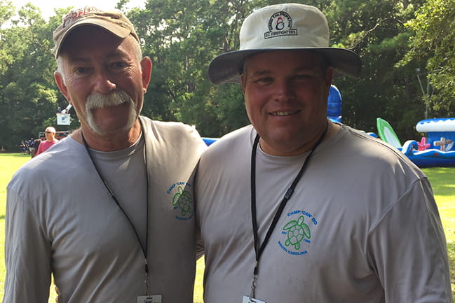 Firefighter Al Nord (left) and Oconee Emergency Services worker Ryan Eubanks (on right)