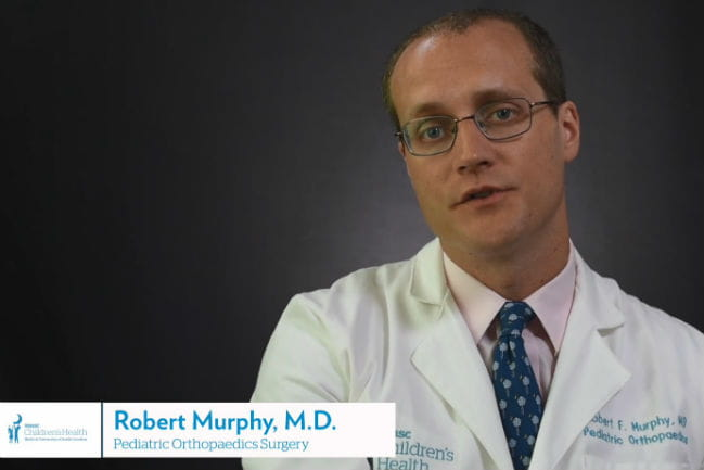 screenshot of Dr. Murphy talking about scoliosis.
