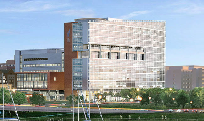 Rendering of the exterior of the Shawn Jenkins Children's Hospital