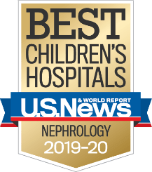 "Badge from U.S. News & World Report that reads ""Best Children's Hospitals, U.S. News & World Report, Nephrology, 2019-2020"