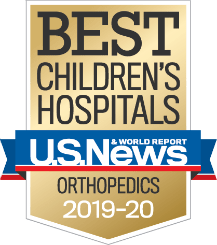 Badge from U.S. News & World Report that reads Best Children's Hospitals, U.S. News & World Report, Orthopedics, 2019-2020.