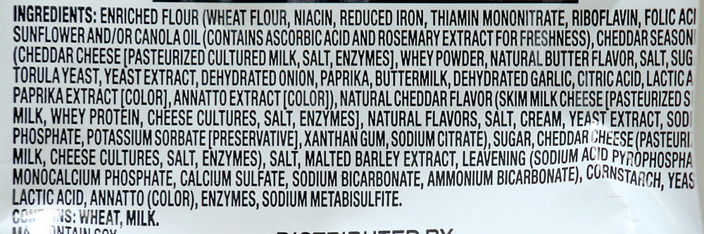 ingredients in a bag of chips