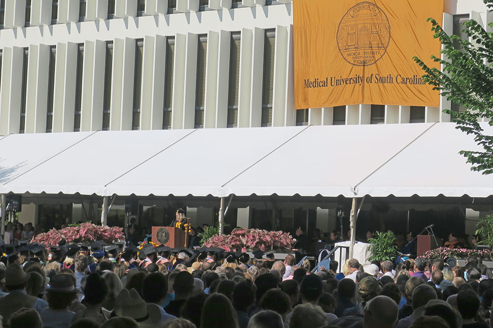 Crowd shot of commencement speech