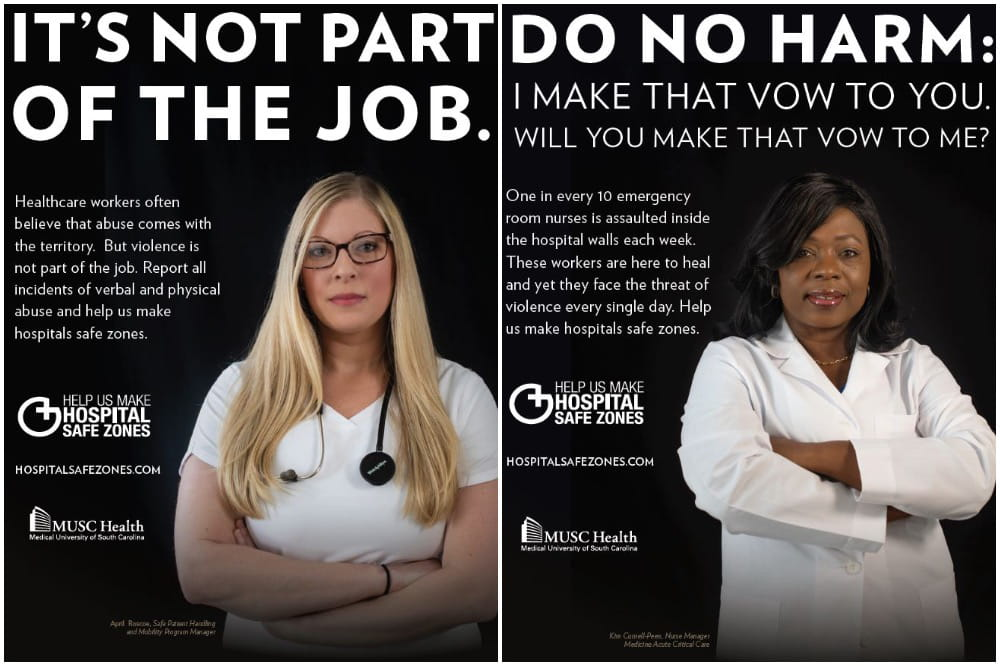 two workplace violence posters displayed in employee areas