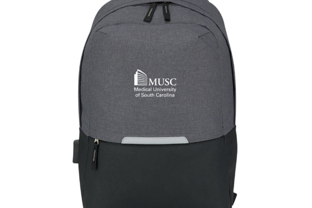 Grey and black backpack